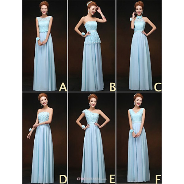 Mix & Match Dresses Floor-length Chiffon and Lace 6 Styles Bridesmaid Dresses (3227691) Bridesmaid Dresses