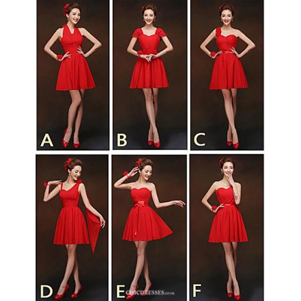 Mix & Match Dresses Short/Mini Chiffon 6 Styles Bridesmaid Dresses (2840134) Bridesmaid Dresses