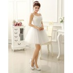 Short/Mini Bridesmaid Dress - Ivory A-line / Princess Strapless Bridesmaid Dresses