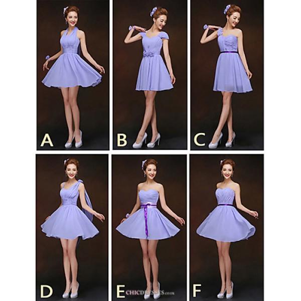 Mix & Match Dresses Short/Mini Chiffon 6 Styles Bridesmaid Dresses (2840096) Bridesmaid Dresses