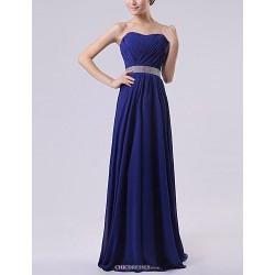 Floor Length Chiffon Bridesmaid Dress Royal Blue Ruby Watermelon White Lavender A Line Sweetheart