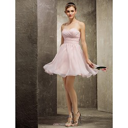 Short/Mini Chiffon Bridesmaid Dress - Pearl Pink Plus Sizes / Petite A-line Sweetheart