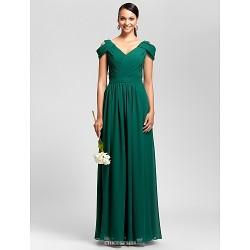 Floor-length Chiffon Bridesmaid Dress - Dark Green Plus Sizes / Petite Sheath/Column V-neck
