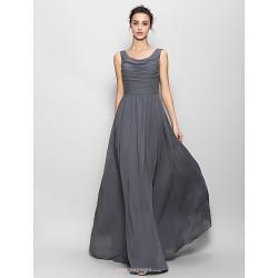 Floor Length Chiffon Bridesmaid Dress Gray A Line Scoop