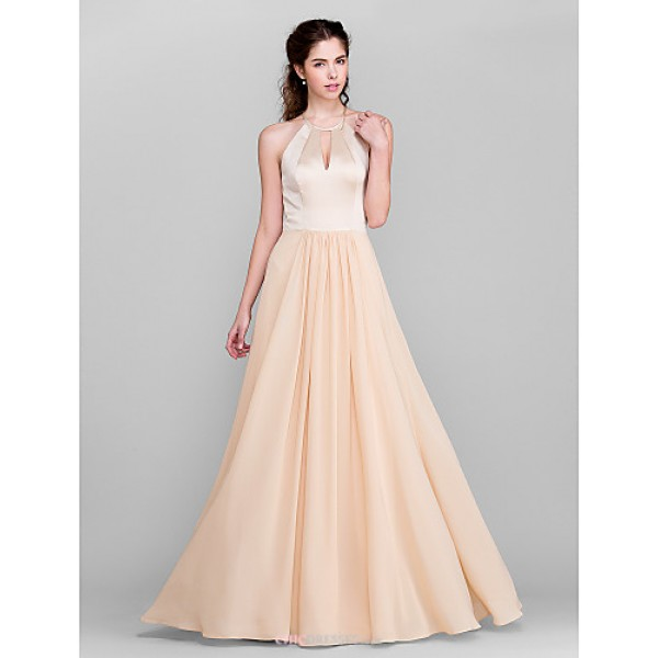 Floor-length Chiffon / Satin Bridesmaid Dress - Champagne Plus Sizes / Petite A-line Jewel Bridesmaid Dresses