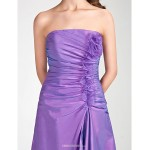Tea-length Taffeta / Organza Bridesmaid Dress - Lilac Plus Sizes / Petite A-line / Princess Strapless Bridesmaid Dresses