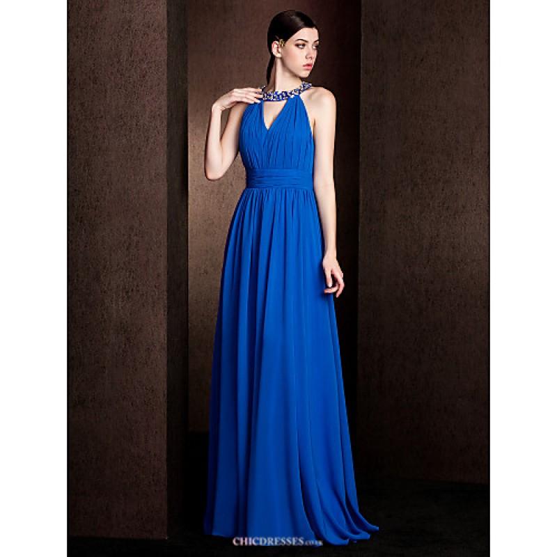 Court train chiffon stretch satin bridesmaid dress for Royal blue plus size wedding dresses