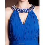 Court Train Chiffon / Stretch Satin Bridesmaid Dress - Royal Blue Plus Sizes / Petite Sheath/Column Jewel Bridesmaid Dresses