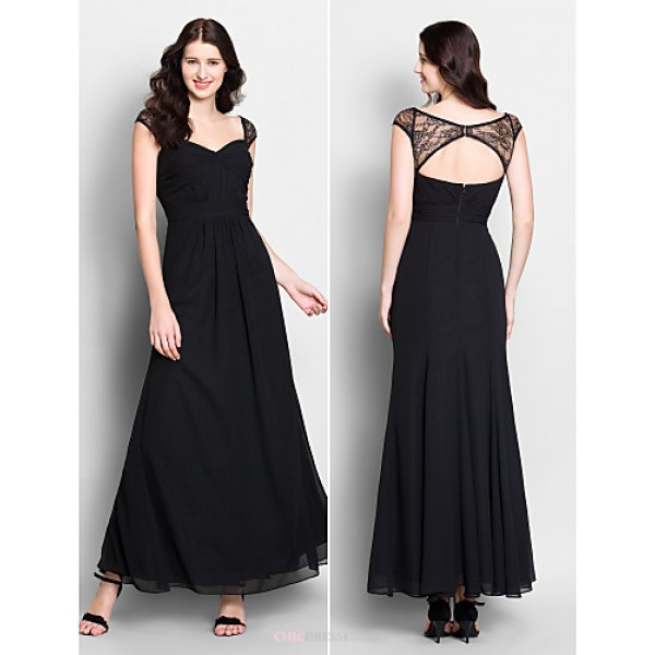 Ankle-length Chiffon Bridesmaid Dress - Black Trumpet/Mermaid Sweetheart Bridesmaid Dresses
