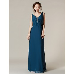 Floor Length Chiffon Bridesmaid Dress Ink Blue Plus Sizes Petite Sheath Column Straps
