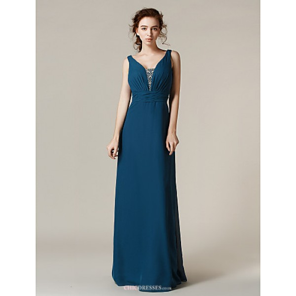 Floor-length Chiffon Bridesmaid Dress - Ink Blue Plus Sizes / Petite Sheath/Column Straps Bridesmaid Dresses