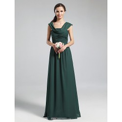 Floor-length Chiffon Bridesmaid Dress - Dark Green Plus Sizes / Petite A-line Cowl