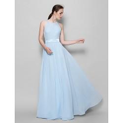 Floor-length Chiffon Bridesmaid Dress - Sky Blue A-line Halter