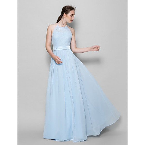 Floor-length Chiffon Bridesmaid Dress - Sky Blue A-line Halter Bridesmaid Dresses