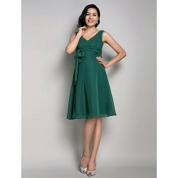 Knee Length Chiffon Bridesmaid Dress Dark Green Maternity A Line Princess V Neck