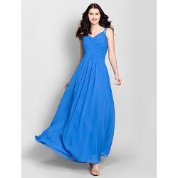 Ankle-length Chiffon Bridesmaid Dress - Royal Blue A-line Spaghetti Straps
