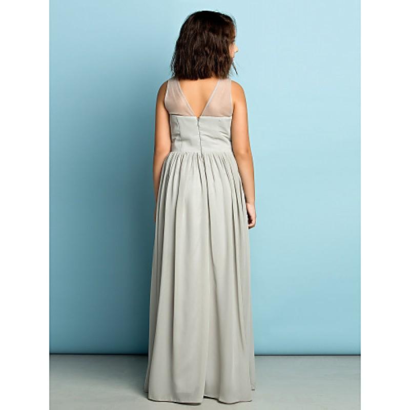 Floor Length Chiffon Junior Bridesmaid Dress Silver A