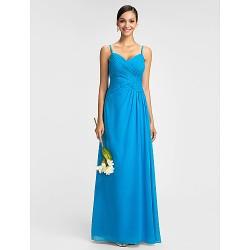 Dress - Ocean Blue Plus Sizes / Petite Sheath/Column Spaghetti Straps Floor-length Chiffon