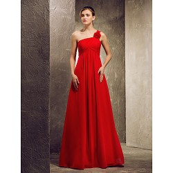 A Line Strapless Hem Length Satin Bridesmaid Dress