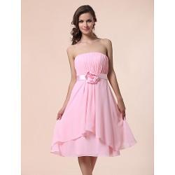 Knee Length Chiffon Bridesmaid Dress Blushing Pink Plus Sizes Petite A Line Princess Strapless