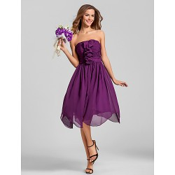 Cocktail Party / Homecoming / Wedding Party Dress - Grape Plus Sizes / Petite A-line Strapless Tea-length Chiffon