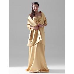 Floor-length Satin Bridesmaid Dress - Gold Plus Sizes / Petite Sheath/Column Strapless