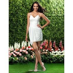 Short Mini Chiffon Bridesmaid Dress Ivory Plus Sizes Petite Sheath Column V Neck Spaghetti Straps