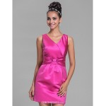 Short/Mini Satin Bridesmaid Dress - Fuchsia Plus Sizes / Petite Sheath/Column V-neck Bridesmaid Dresses