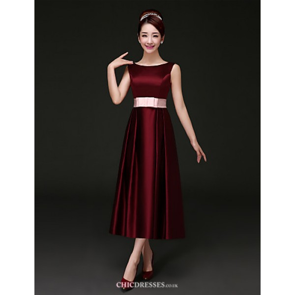 Tea-length Satin Bridesmaid Dress - Burgundy A-line Bateau Bridesmaid Dresses