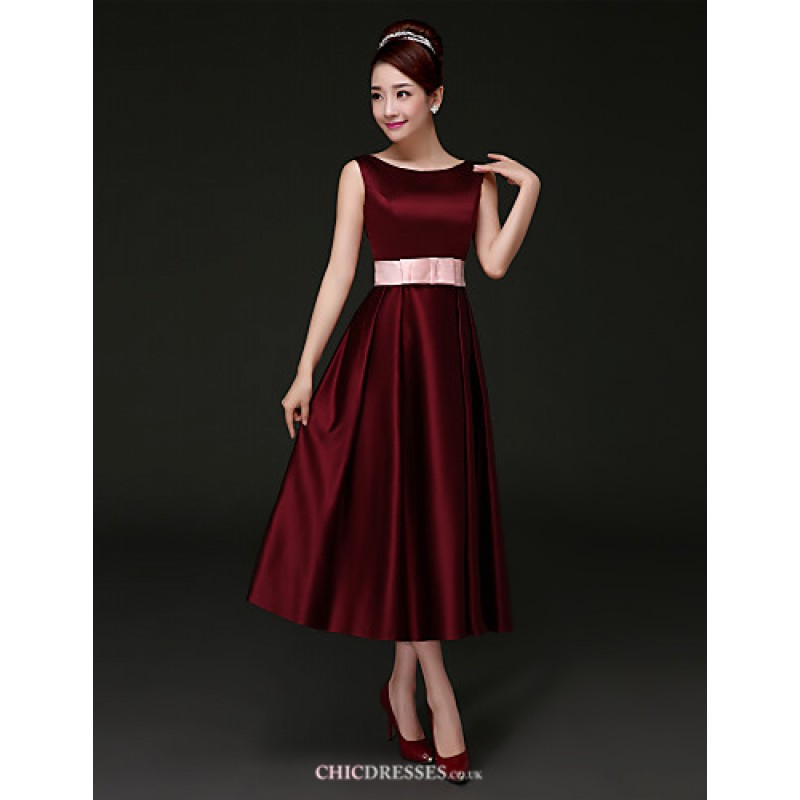Tea Length Satin Bridesmaid Dress Burgundy A Line Bateau