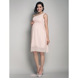 Knee-length Chiffon Bridesmaid Dress - Pearl Pink Maternity A-line / Princess One Shoulder