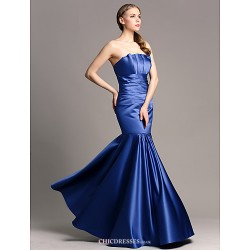 Floor Length Satin Bridesmaid Dress Royal Blue Plus Sizes Petite Fit & Flare Strapless