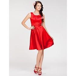 Knee-length Stretch Satin Bridesmaid Dress - Ruby Plus Sizes / Petite A-line / Princess Jewel