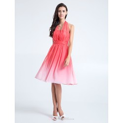 Knee Length Chiffon Bridesmaid Dress Watermelon Plus Sizes Petite A Line Halter