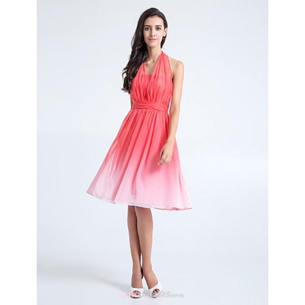 Knee-length Chiffon Bridesmaid Dress - Watermelon Plus Sizes / Petite A-line Halter Bridesmaid Dresses