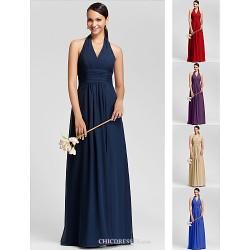 Floor-length Chiffon Bridesmaid Dress - Ruby / Grape / Royal Blue / Champagne / Dark Navy Plus Sizes / Petite Sheath/ColumnHalter /