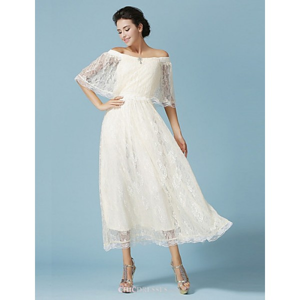 Ankle-length Lace Bridesmaid Dress - Ivory Ball Gown Bateau Bridesmaid Dresses