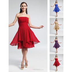 Knee Length Chiffon Bridesmaid Dress Ruby Grape Royal Blue Champagne Plus Sizes Petite A Line Princess Strapless