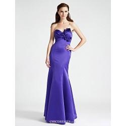 Floor Length Satin Bridesmaid Dress Regency Plus Sizes Petite Trumpet Mermaid Strapless Sweetheart