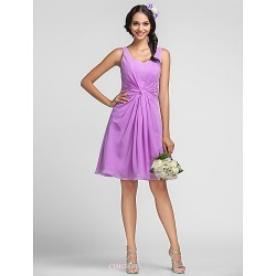 Knee Length Chiffon Bridesmaid Dress Lilac Plus Sizes Petite Sheath Column Sweetheart Straps