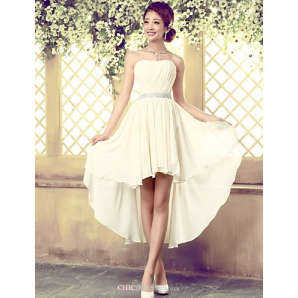 Asymmetrical Tulle Bridesmaid Dress - Ivory A-line Strapless Bridesmaid Dresses