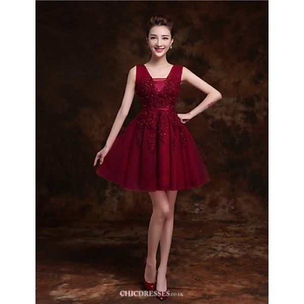 Short/Mini Tulle Bridesmaid Dress - Ruby / Burgundy / Pearl Pink / Champagne / Ink Blue A-line V-neck Bridesmaid Dresses