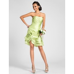 Knee-length Taffeta Bridesmaid Dress - Lime Green Plus Sizes / Petite Sheath/Column Strapless