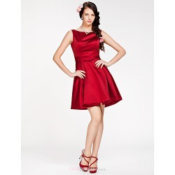 Short/Mini Satin Bridesmaid Dress - Ruby Plus Sizes / Petite A-line / Princess Bateau