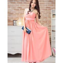 Ankle Length Chiffon Bridesmaid Dress Fuchsia Royal Blue Champagne Silver Watermelon Pool Ball Gown Sweetheart