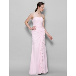 Ankle-length Chiffon Bridesmaid Dress - Blushing Pink Sheath/Column Sweetheart