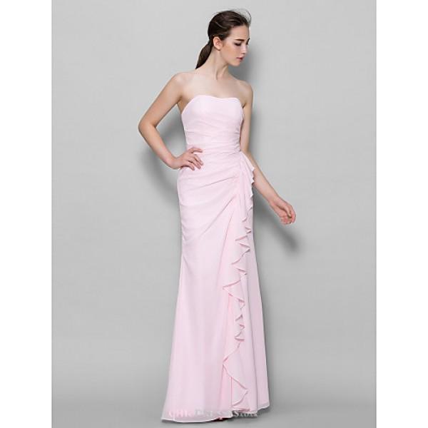 Ankle-length Chiffon Bridesmaid Dress - Blushing Pink Sheath/Column Sweetheart Bridesmaid Dresses