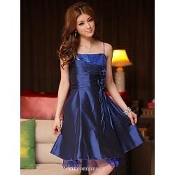 Knee Length Satin Bridesmaid Dress Royal Blue Black Purple A Line Princess Spaghetti Straps