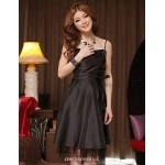 Knee-length Satin Bridesmaid Dress - Royal Blue / Black / Purple A-line / Princess Spaghetti Straps Bridesmaid Dresses