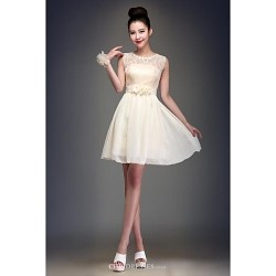 Knee Length Chiffon Bridesmaid Dress Champagne Ball Gown Jewel